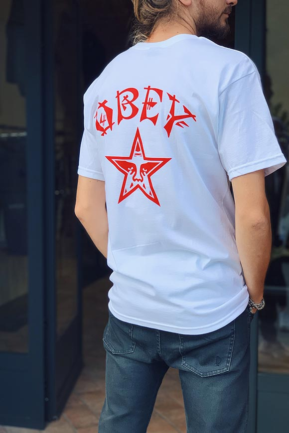 Obey - T shirt Japan bianca e rossa
