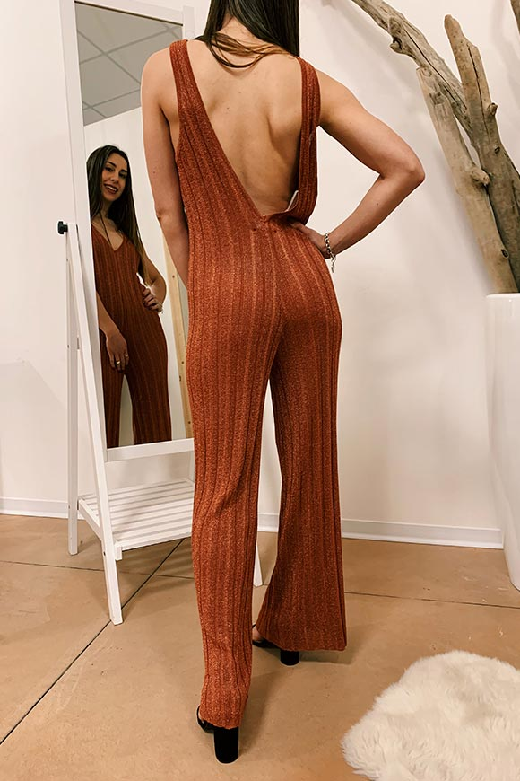 Kontatto - Bronze ribbed lurex long jumpsuit