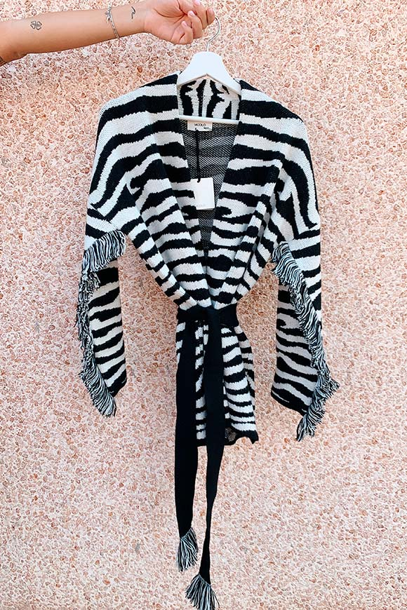 Vicolo - Black and white zebra cardigan with fringes