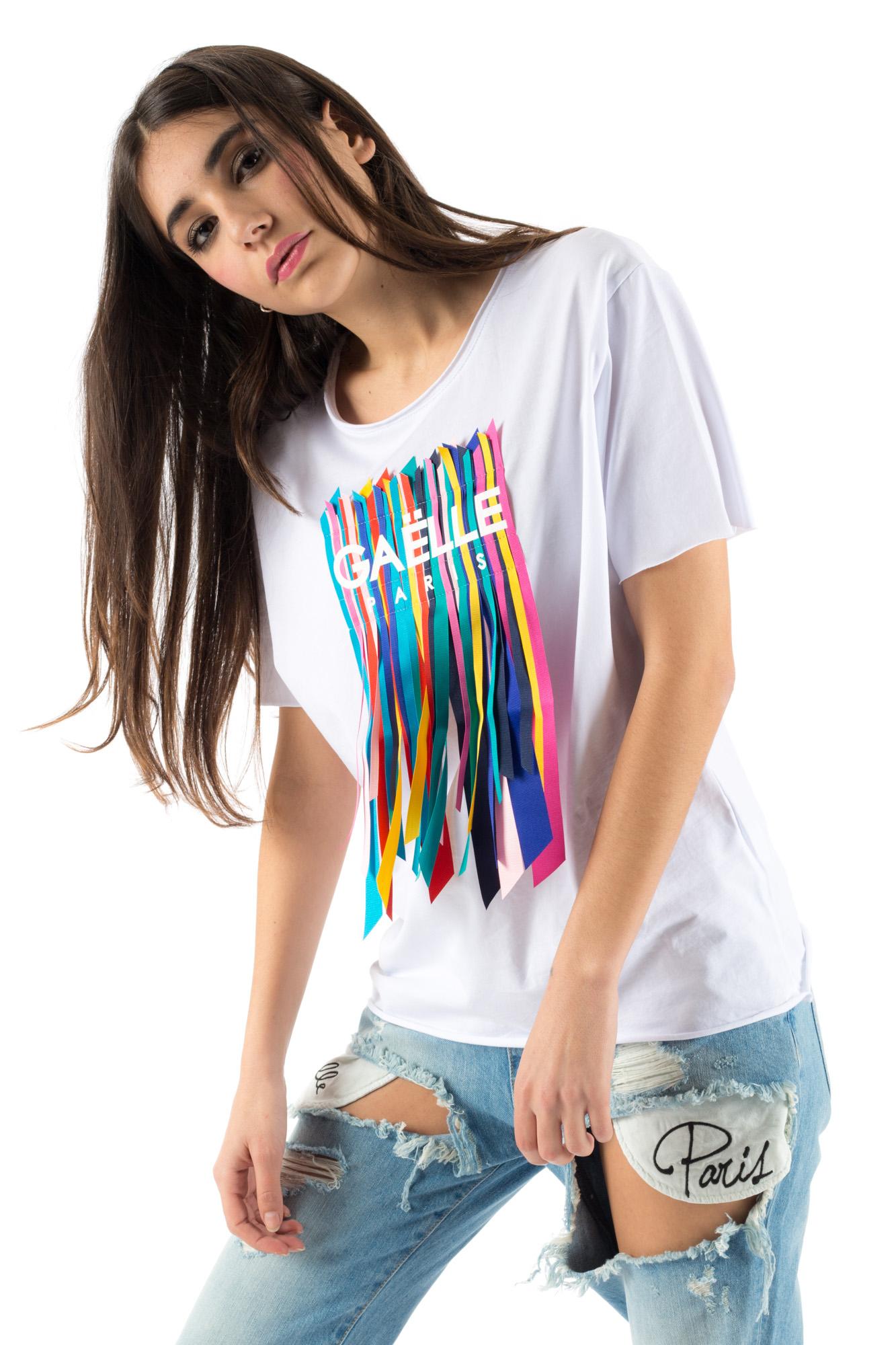 Très Gaelle T-shirt con logo e frange - Calibro Shop AV83