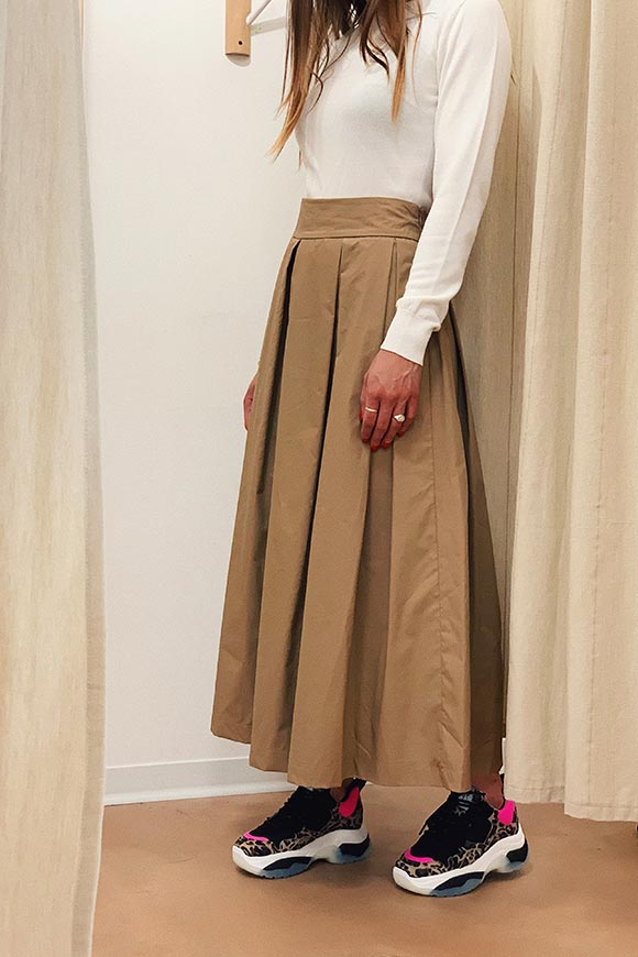 Vicolo - Beige long pleated wheel skirt