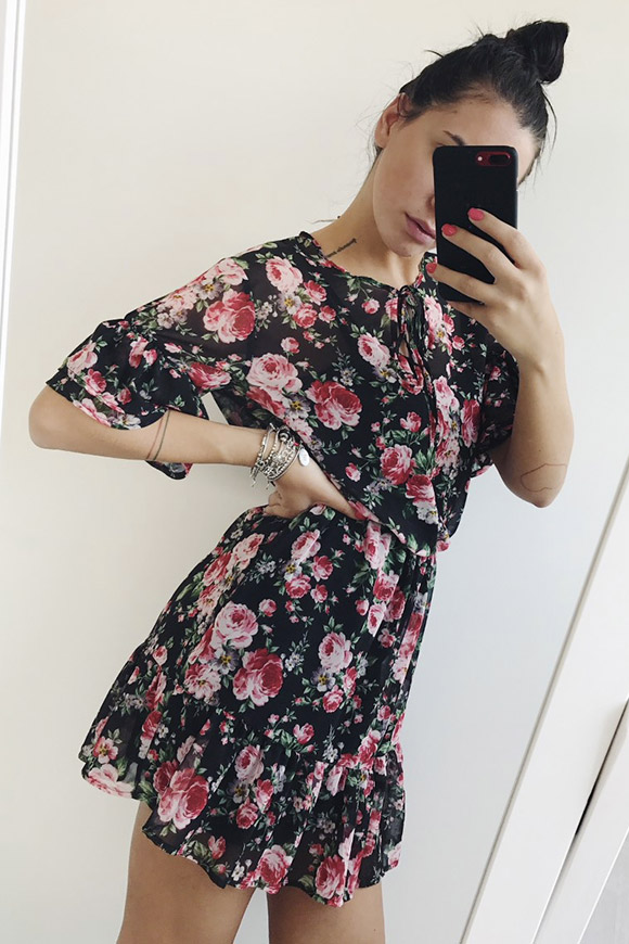 Vicolo - Pink and black floral dress