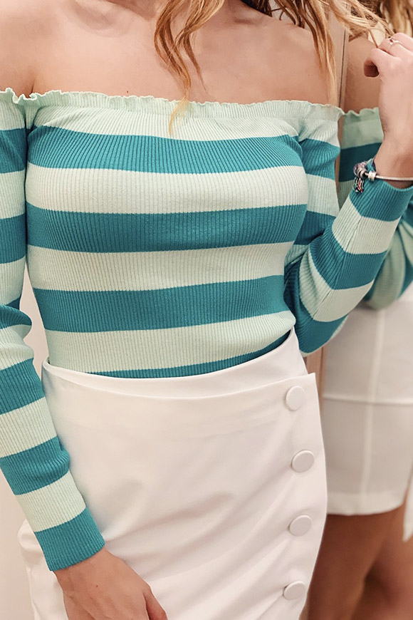 Kontatto - Ocean and mint striped sweater with bardot neckline