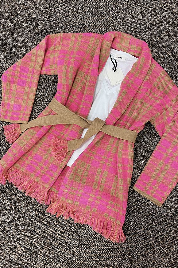 Alanui pink and beige checked cardigan