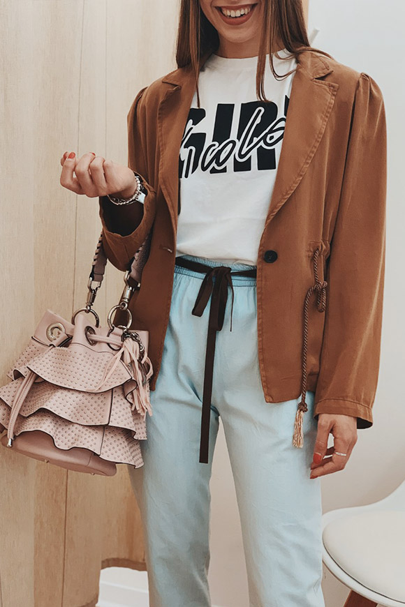 Motel - Brown denim jacket with drawstring