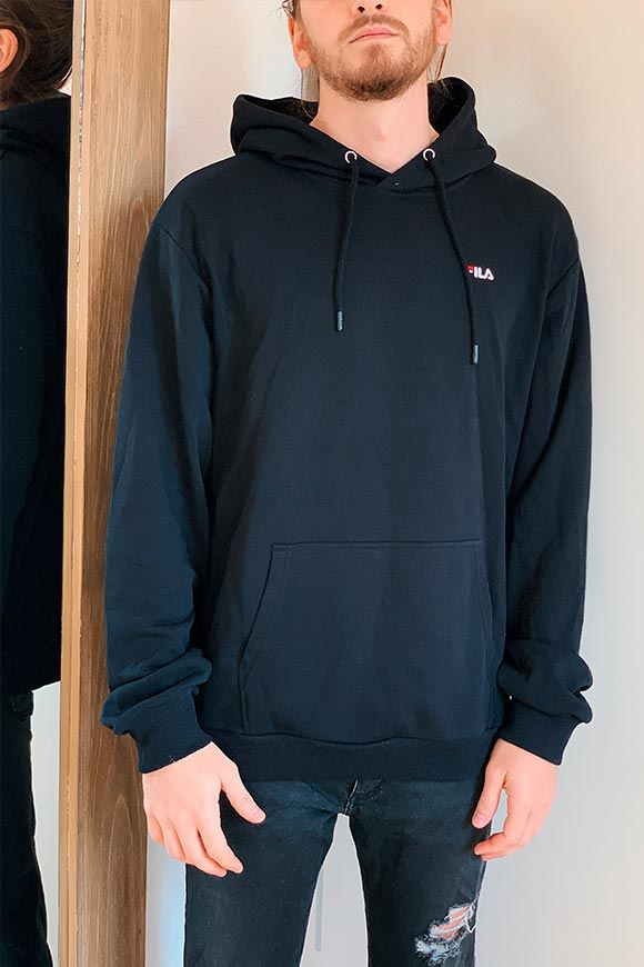 Fila - Black sweatshirt with hood and small logo