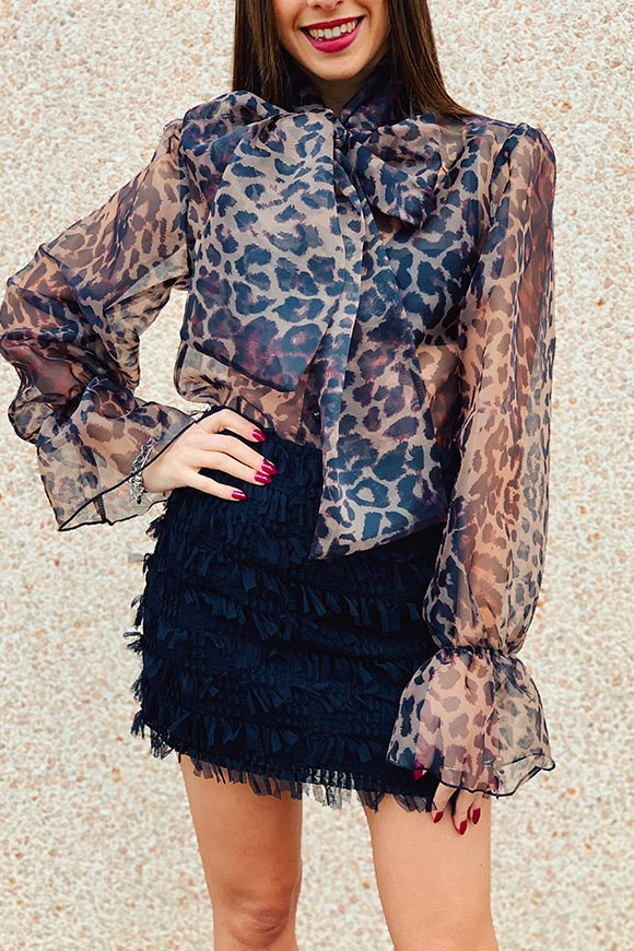 Kontatto - Leopard shirt with bow