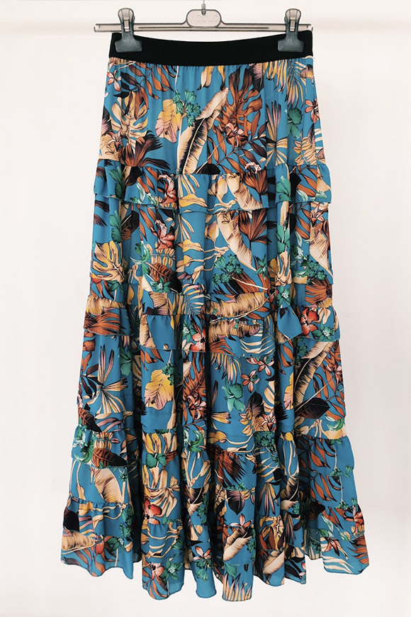 Vicolo - Floral long skirt with flounces