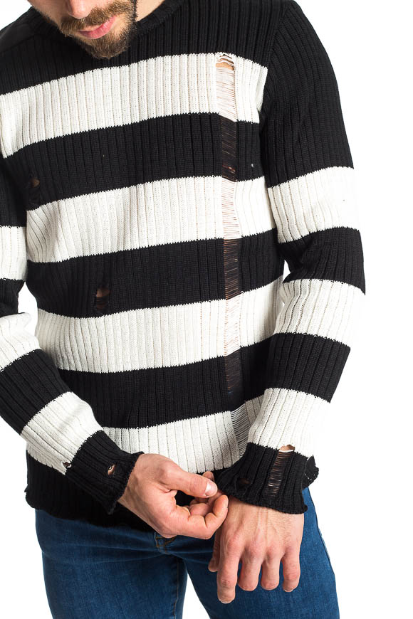 Family First - Black and white sweater with rips