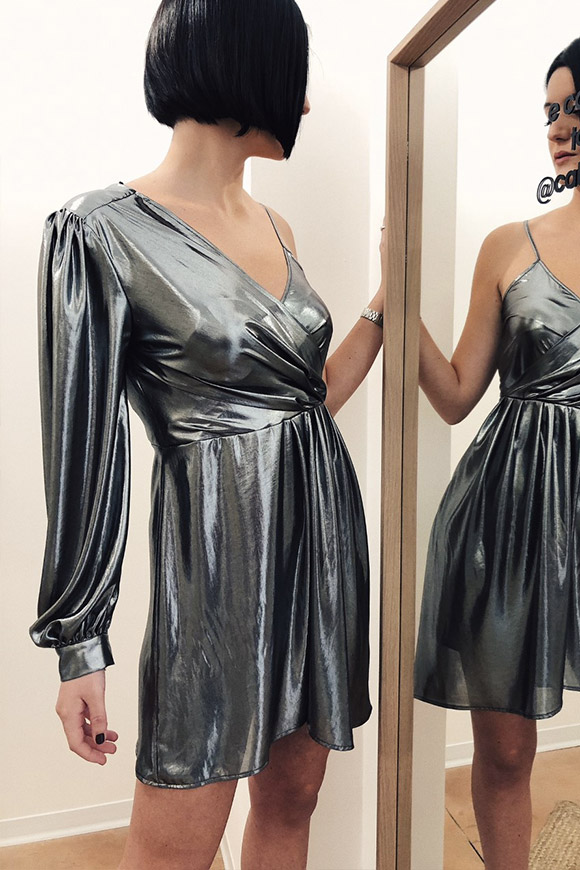 Vicolo - Irregular silver laminated single shoulder dress