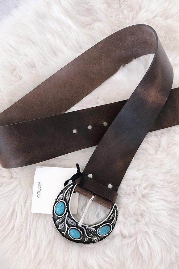 nuovo concetto d103b 429ae Cintura marrone scura con fibbia e pietre