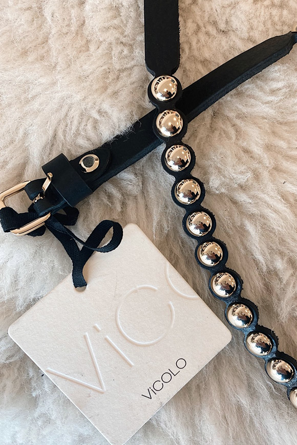 Vicolo - Black belt with gold round studs