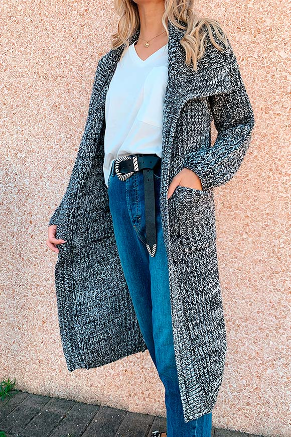 Kontatto - Gray melange knit coat