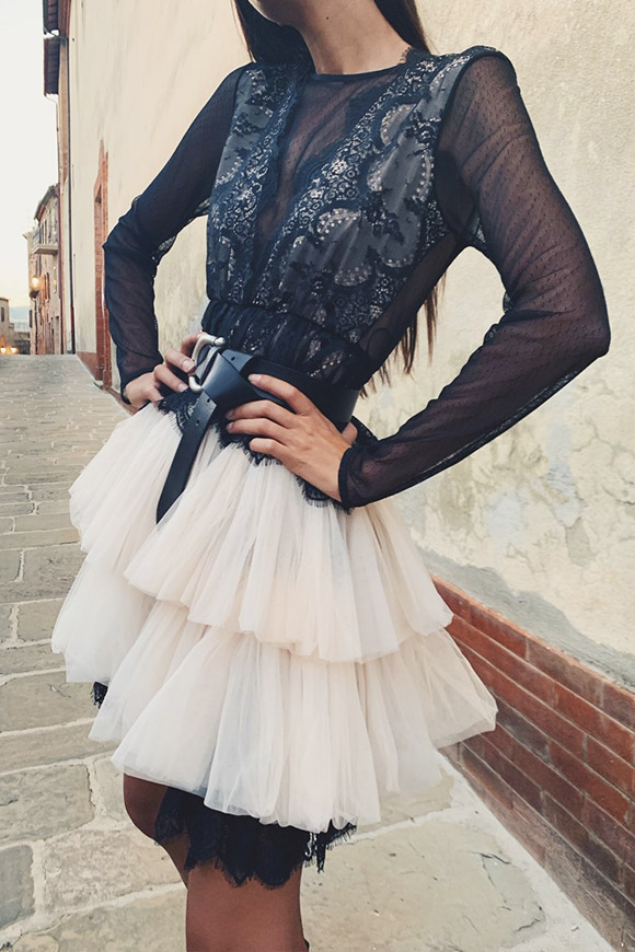 Aniye By - Dress in tulle and powder and black lace