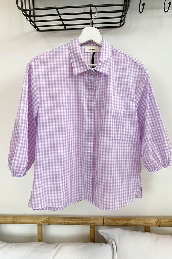 Vicolo - Lilac and white vichy shirt with pocket