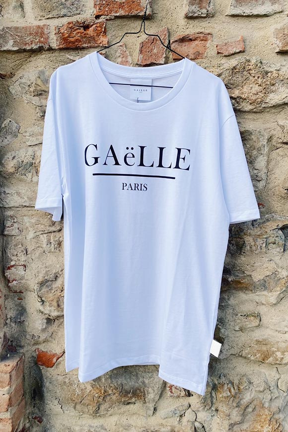 Gaelle - White t shirt with black crossed out logo