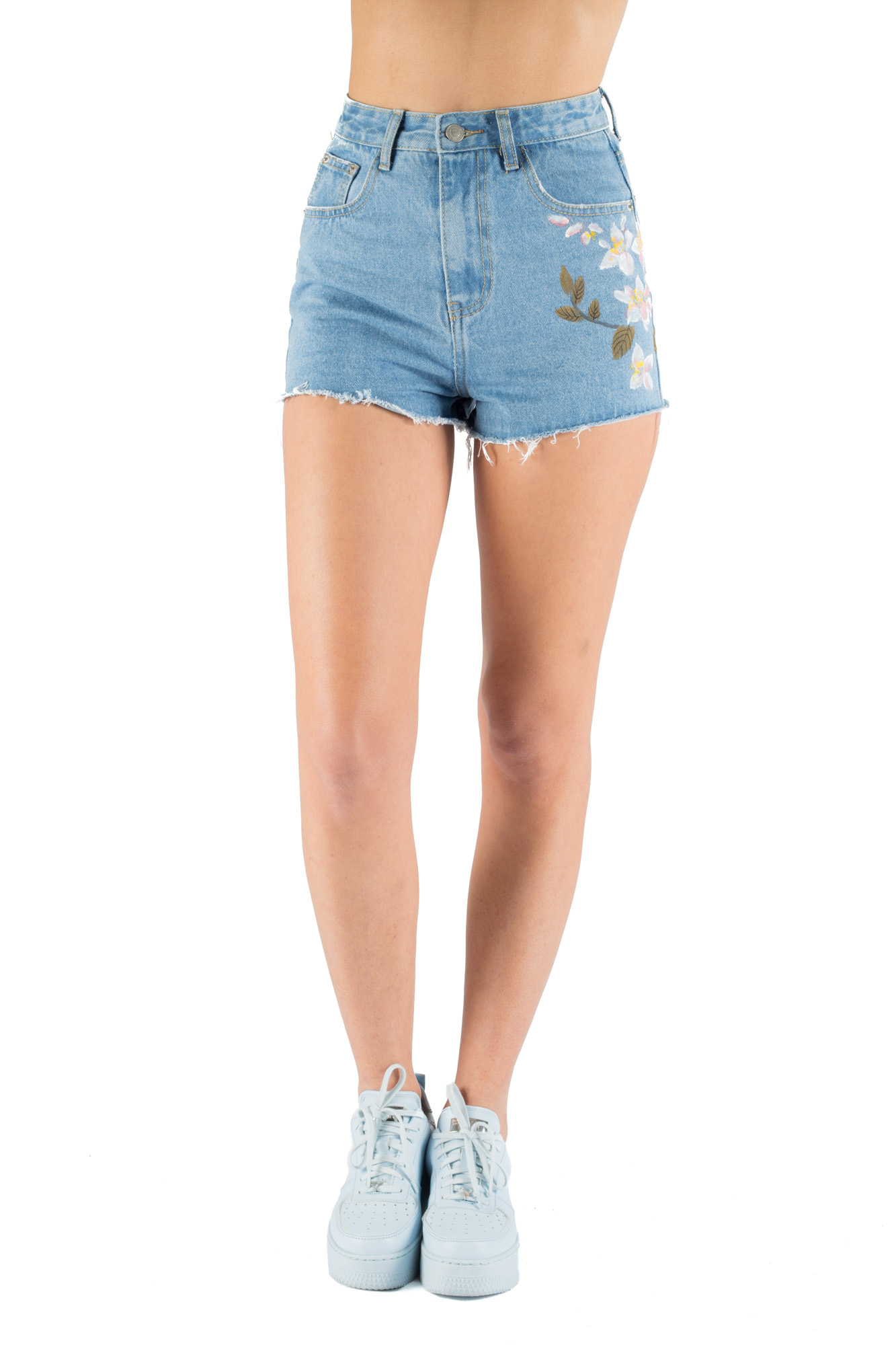 Glamorous - Painted floral denim shorts