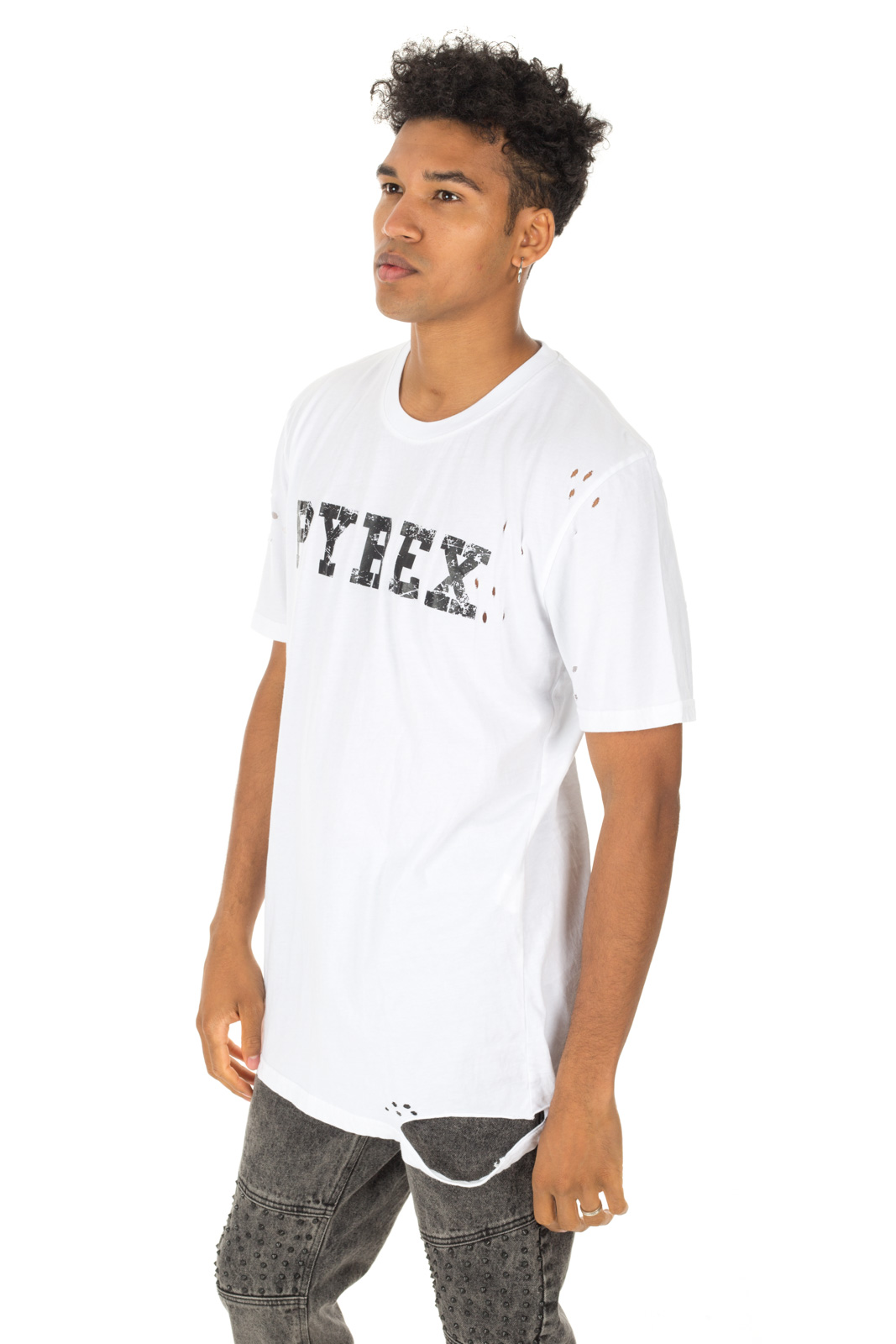 Pyrex - White T shirt with logo and tears