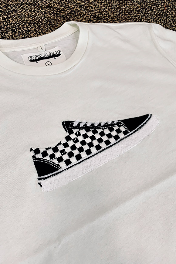 Easy Slip On - T shirt bianca ricamo Vans scacchi