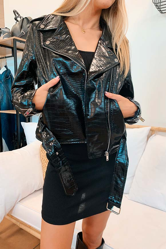 Glamorous - Crocodile faux leather jacket