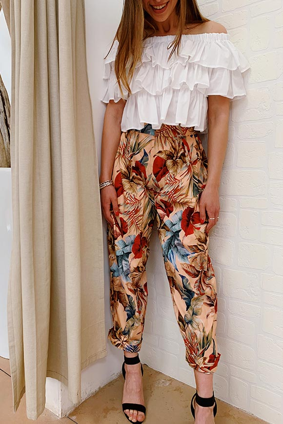 Vicolo - Light pink flower balloon trousers
