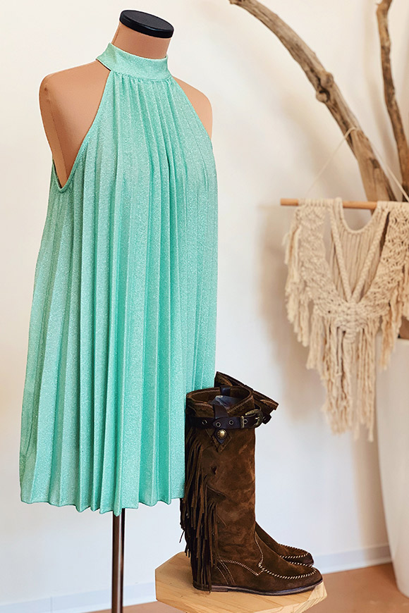 Kontatto - Water green lurex pleated dress