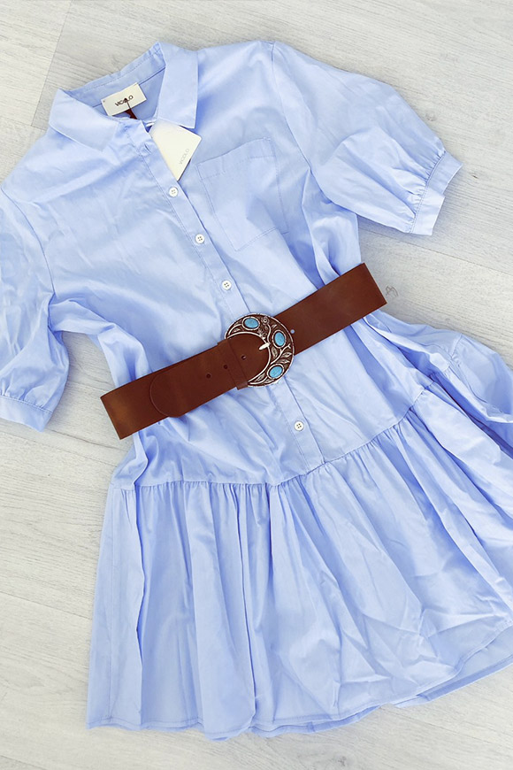 Vicolo - Blue pinafore dress with flounce