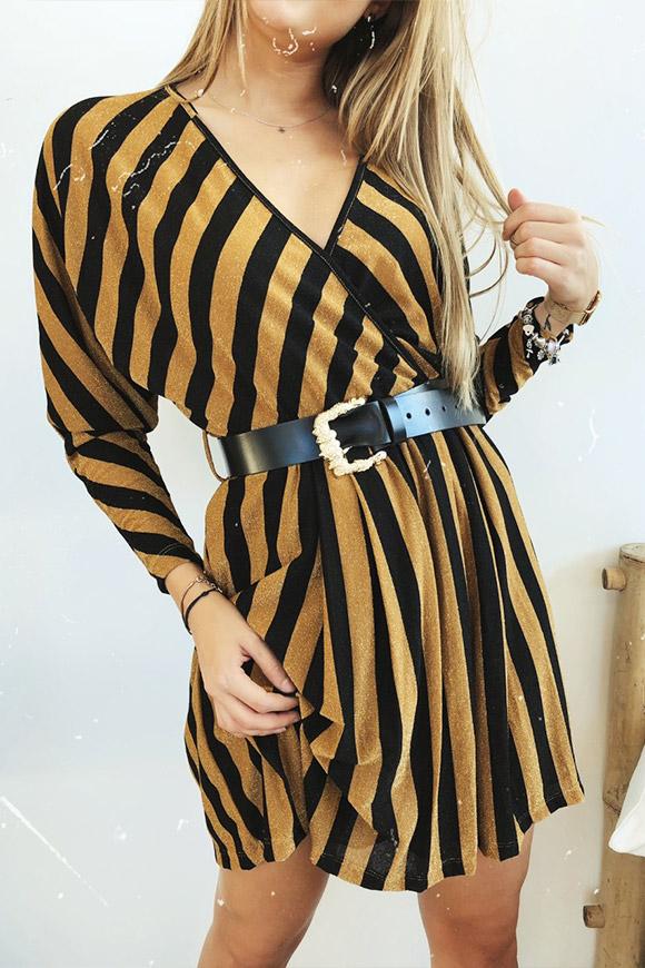best website d6ff5 a2cca Vestito lurex a righe nero e oro