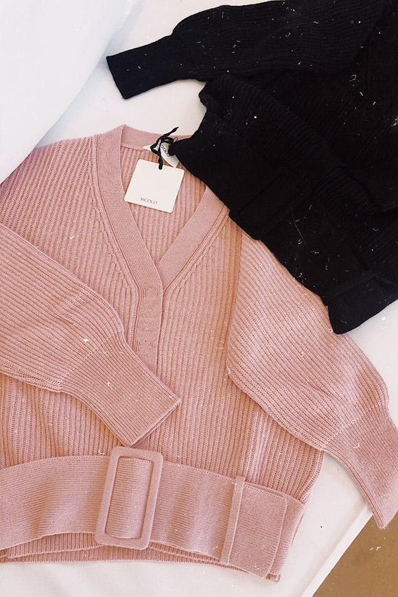 Vicolo , Maglione rosa con cintura in vita e bottoni