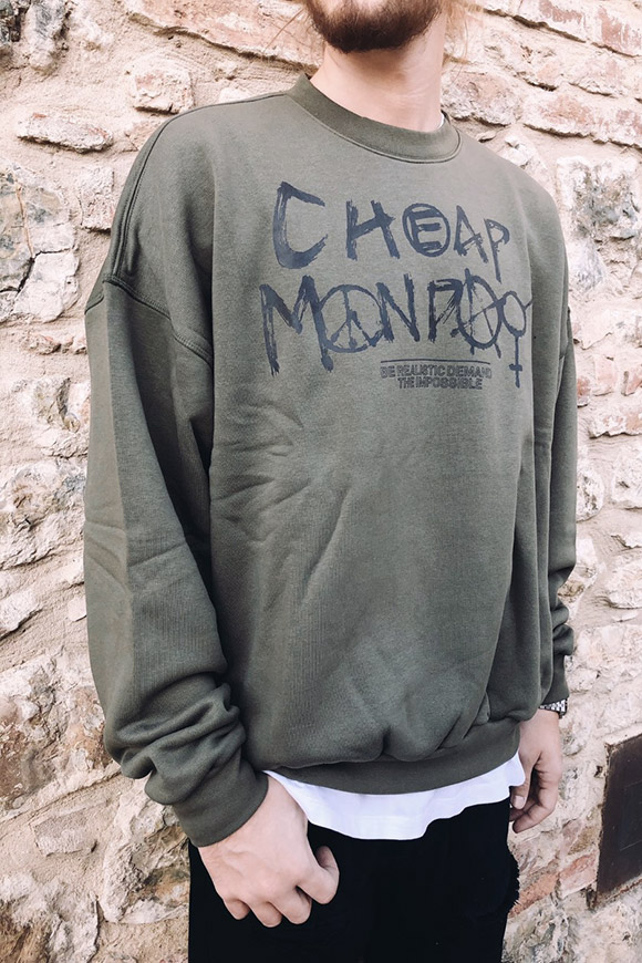 Cheap Monday - Felpa verde logo spray