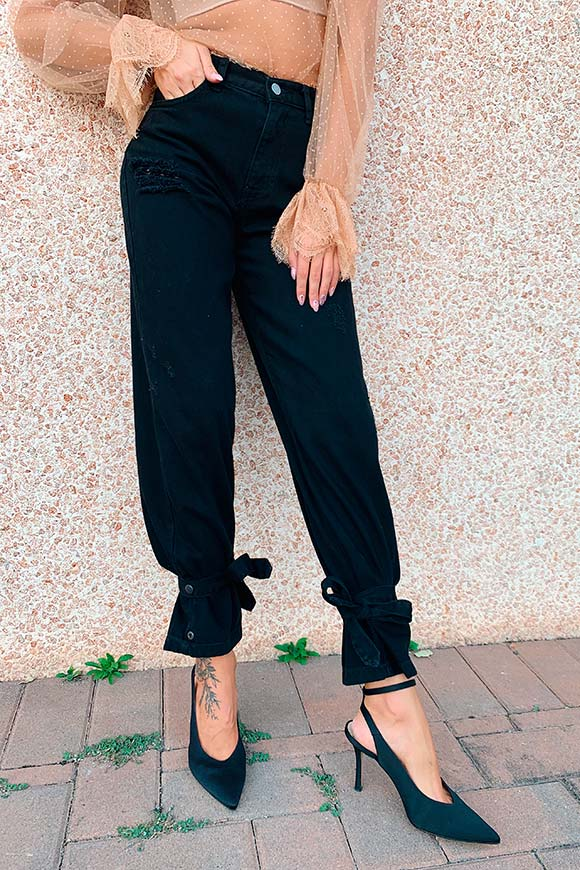 Kontatto - Black jeans with bows at the ankles