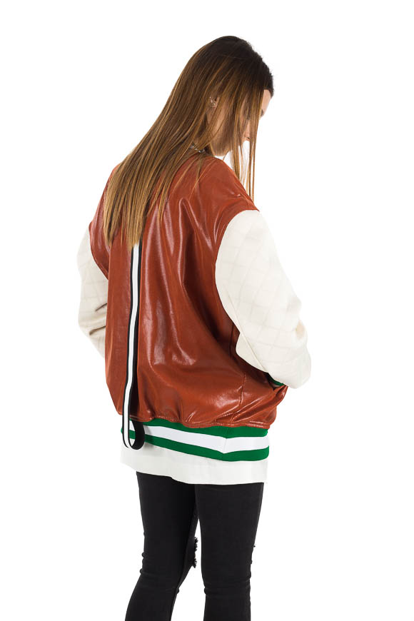 White - Brown bomber jacket with band