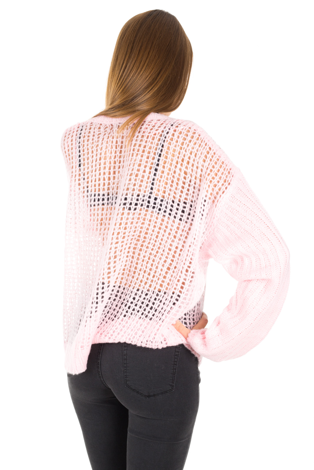 Glamorous - Perforated pink soft sweater