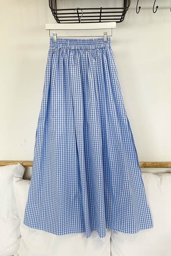 Vicolo - Light blue and white vichy full skirt with side slits