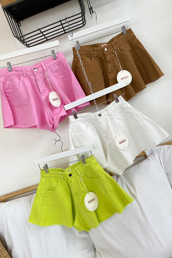 Kontatto - Pink bell-shaped denim shorts