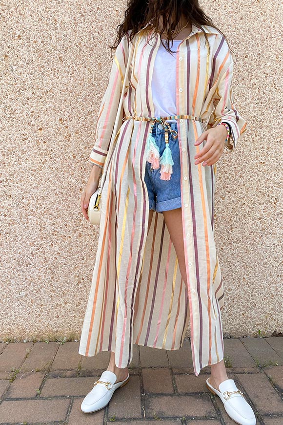 Vicolo - Sand shirt dress with multicolor laminated stripes