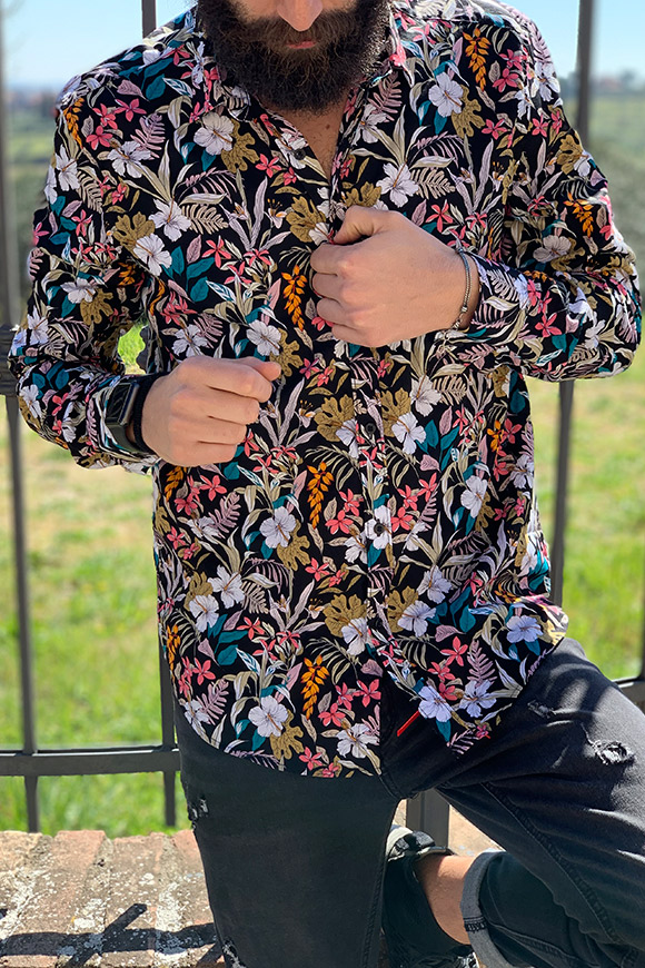 Gianni Lupo - Black flower shirt