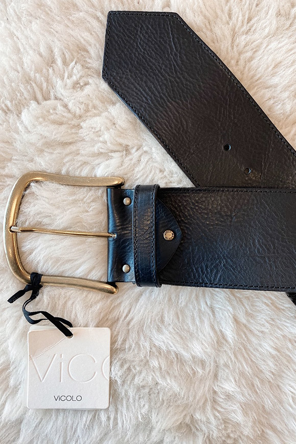 Vicolo - High black belt with gold buckle