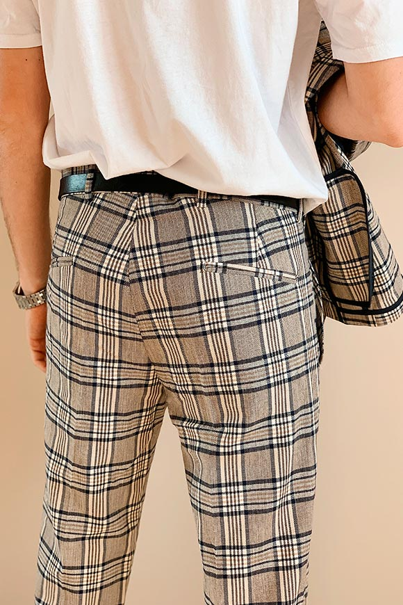 Gianni Lupo - Plaid trousers beige and blue
