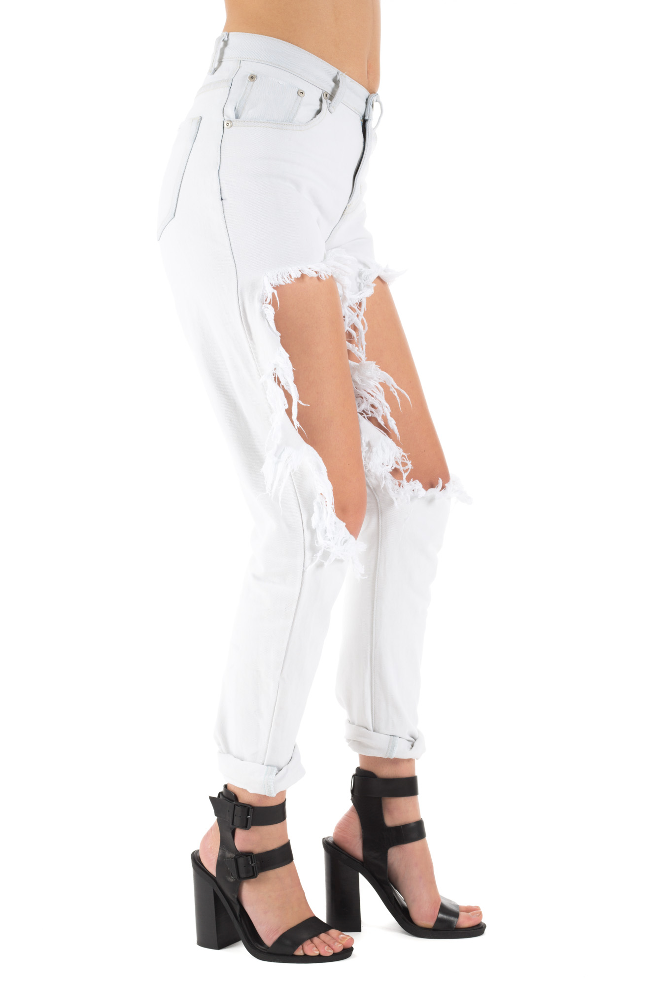 Glamorous - High waist light jeans with weathered effect