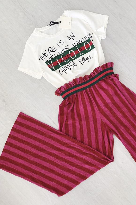 miglior sito web 806f5 b7d11 Pantaloni lurex rossi/rosa a righe