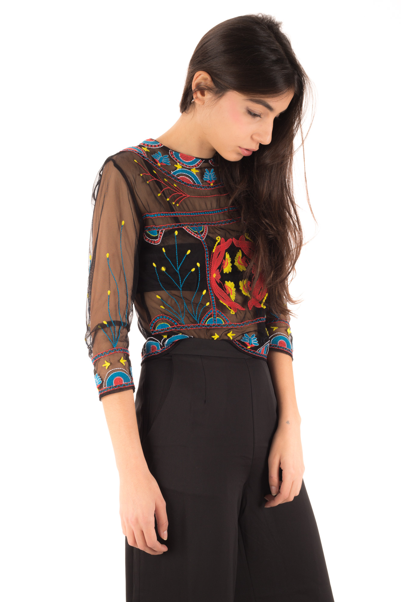 Glamorous - See-through Beaded T-Shirt with embroidery