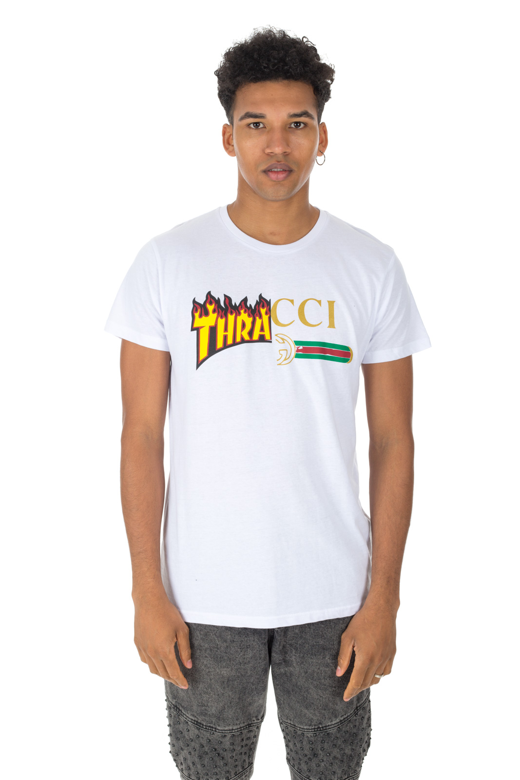 Faking - Thrasher T shirt and Gucci Unisex White