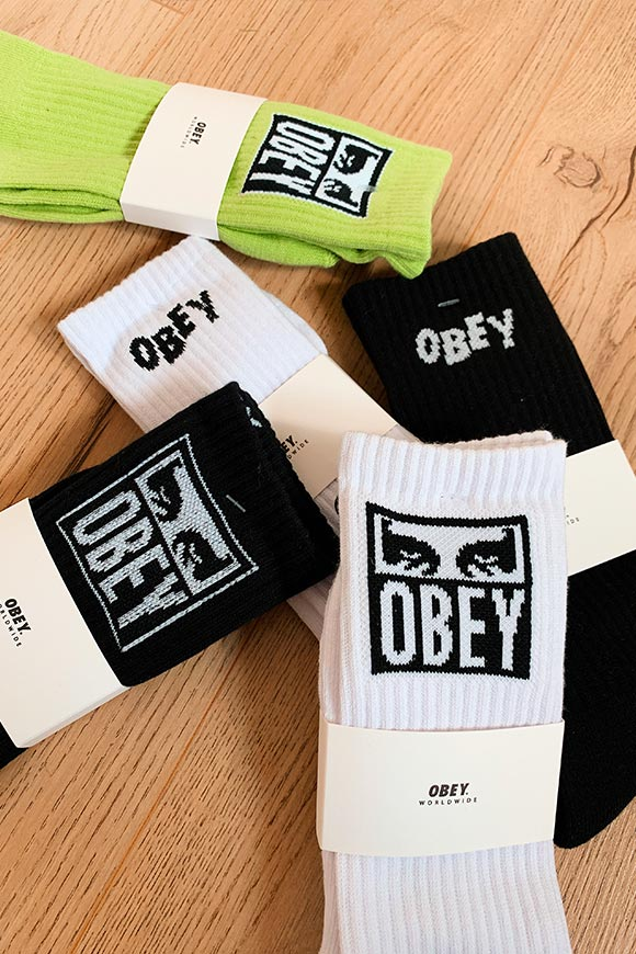 Obey - White terry socks with Jumbled logo