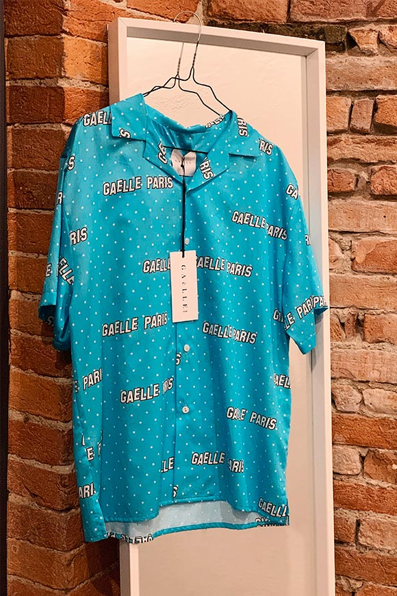 Gaelle - Light blue shirt with all over logos