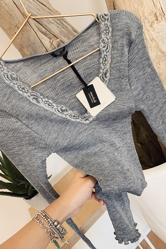 Vicolo - Gray wool and silk sweater with lace