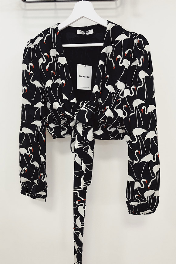 Glamorous - Knot top with flamingos