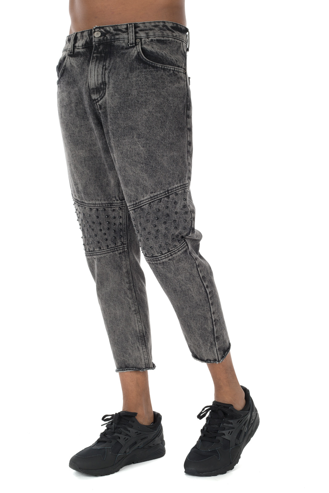 Berna - Gray jeans with studs on the knees