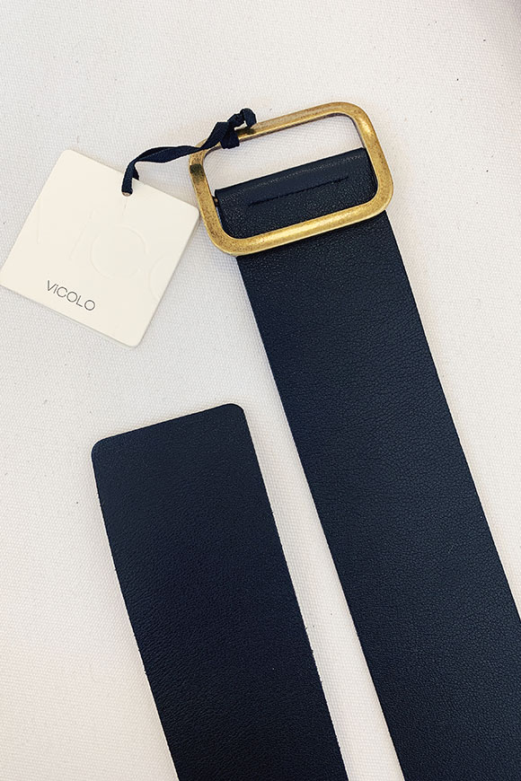 Vicolo - High black leather belt with squared gold buckle
