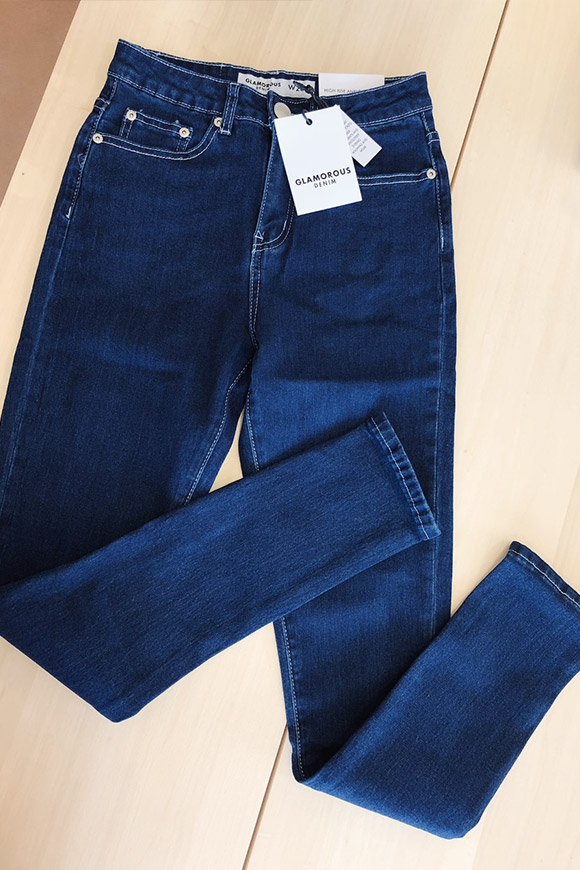 Glamorous - Jeans skinny blu con cuciture bianche